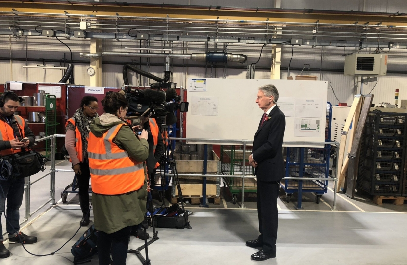Philip Hammond at Eminox in Gainsborough