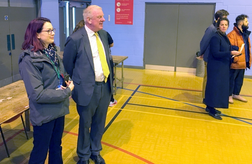 Sir Edward Leigh at the Count with a journalist from LincsFM