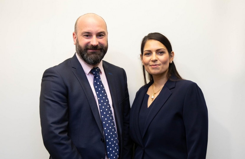 Commissioner Marc Jones and Home Secretary Priti Patel MP