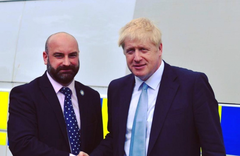 Commissioner Marc Jones and Prime Minister Boris Johnson MP