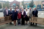 Councillors and Family Members with the two benches in Marshall's Yard