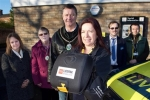 Mayor & Consort of Market Rasen with LIVES Chief Executive and Cllr. Thomas Smith with Defibrillator unit