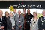 Colin Jackson CBE with Councillors, Officers and the Mayor of Gainsborough at the opening of the refurbished leisure centre